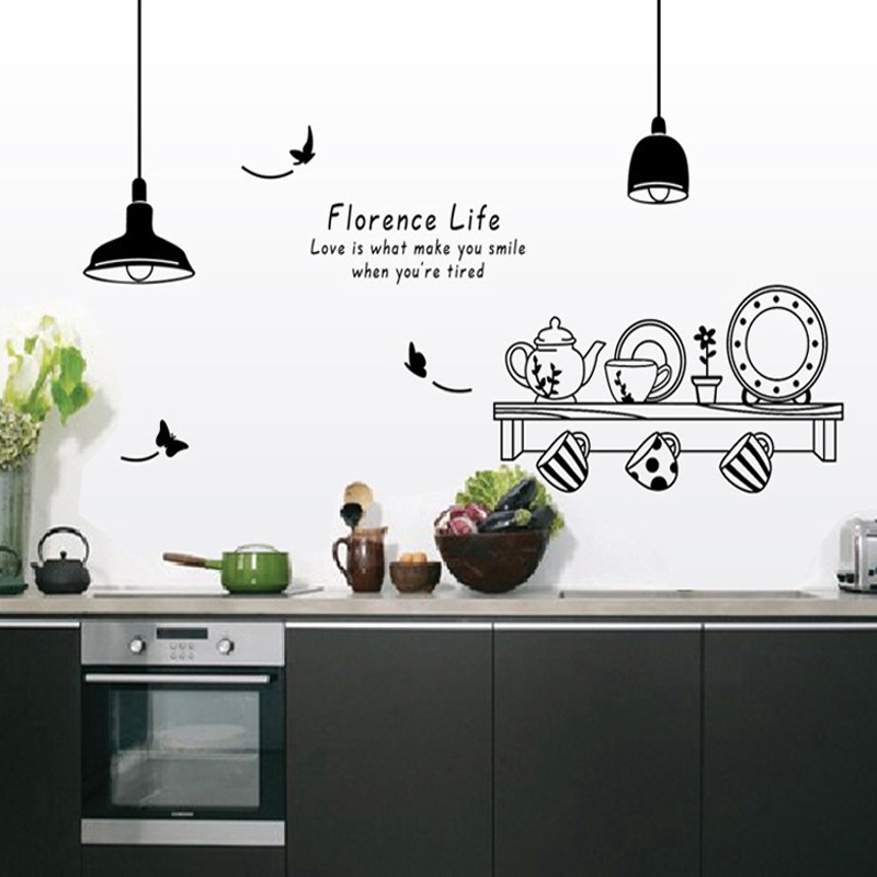Ordinaire Florence Life Single Piece Wall Sticker Stencils For Walls Kitchen Creative  Cook Kitchen Wall Stickers For The Kitchen Wallpaper In Wall Stickers From  Home ...