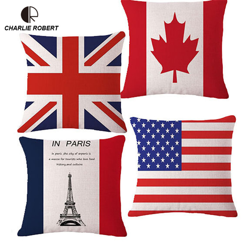 Super Quality Union Jack Home Sofa Seat Back Cushion With No Core 17 Linen Decorative Pillows For Chair Home Decor Pad Hh1096