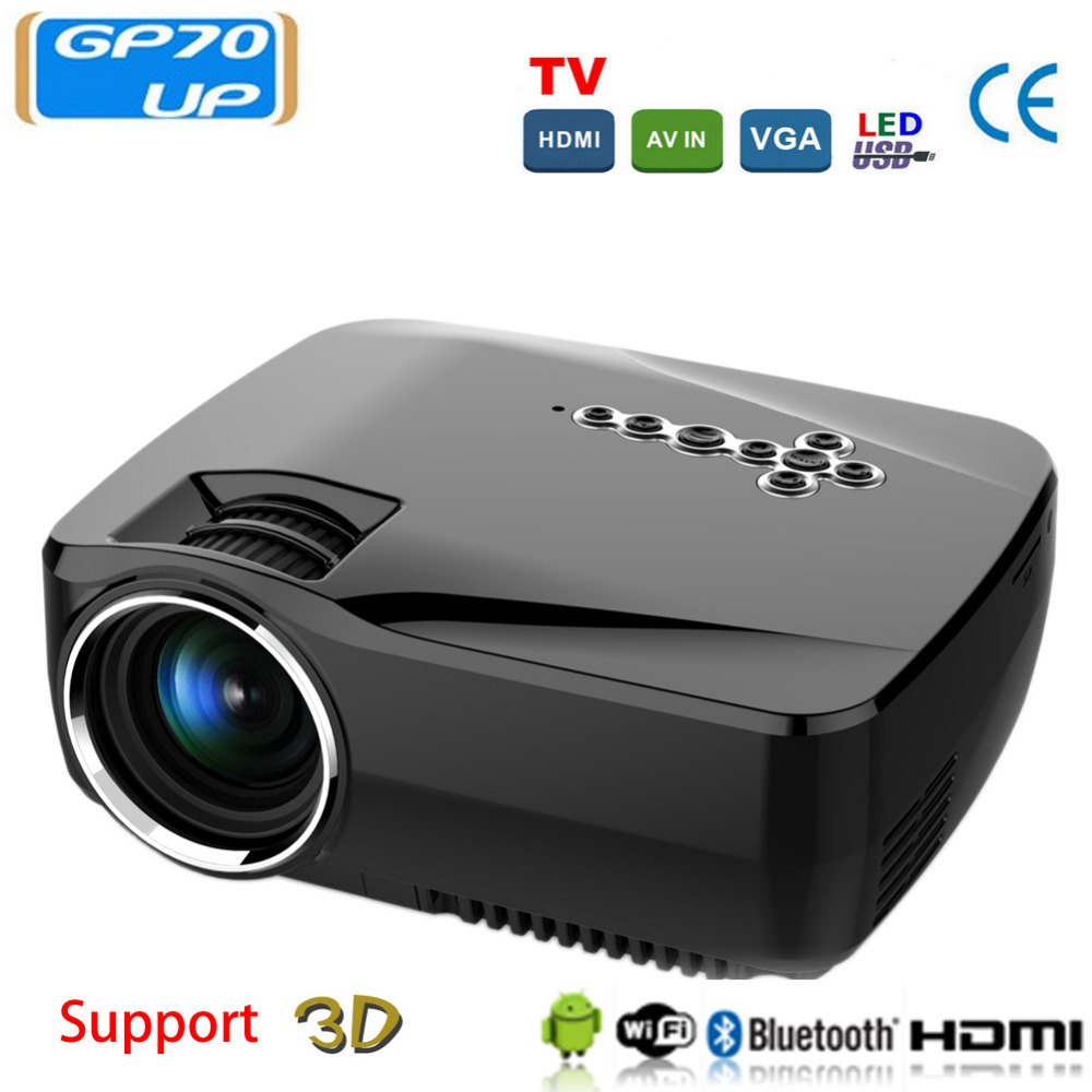 GP70UP 3D Android 4.4 Projector 1200 Lumens Support 1920x1080P Analog TV LED Projector Wifi Projector for Home Cinema