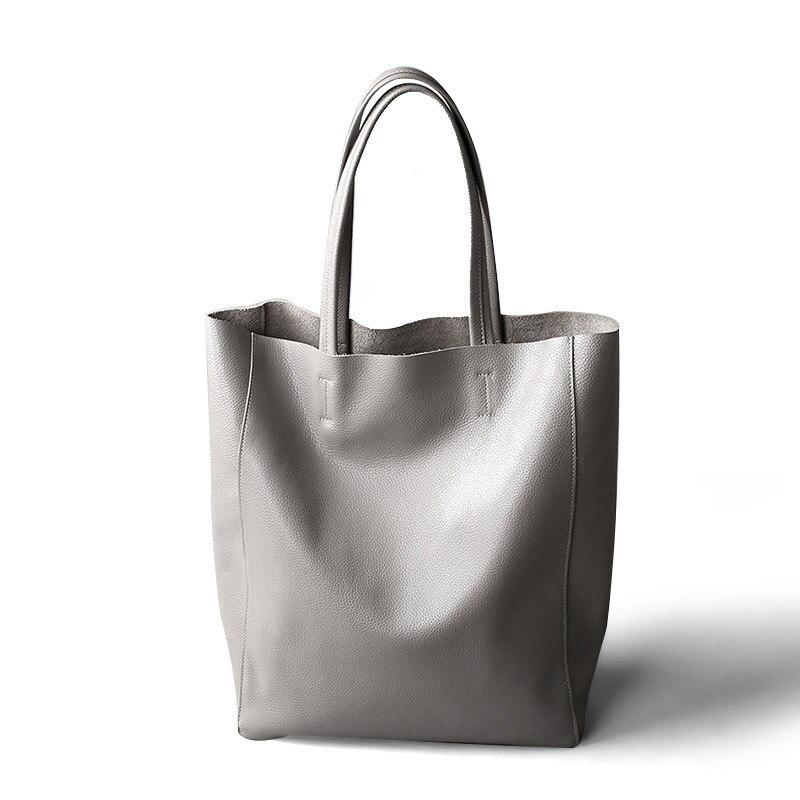 Capacité grey filiale Haute Cuir Parent Lady Main Black Femmes À Casual Étanche Épaule Shopping Totes Véritable Zipper Sac En white 8qRBqAU