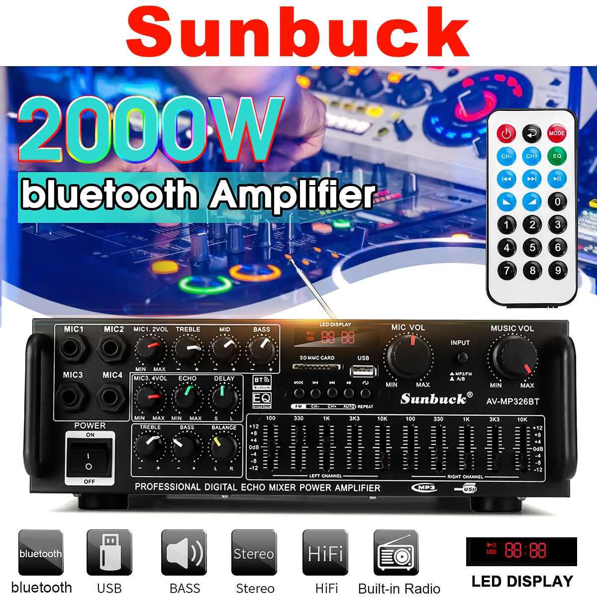 2000W 110 V/220 V 2 canaux bluetooth maison stéréo puissance amplificateur Audio USB SD amplificateurs à distance amplificateur de Subwoofer