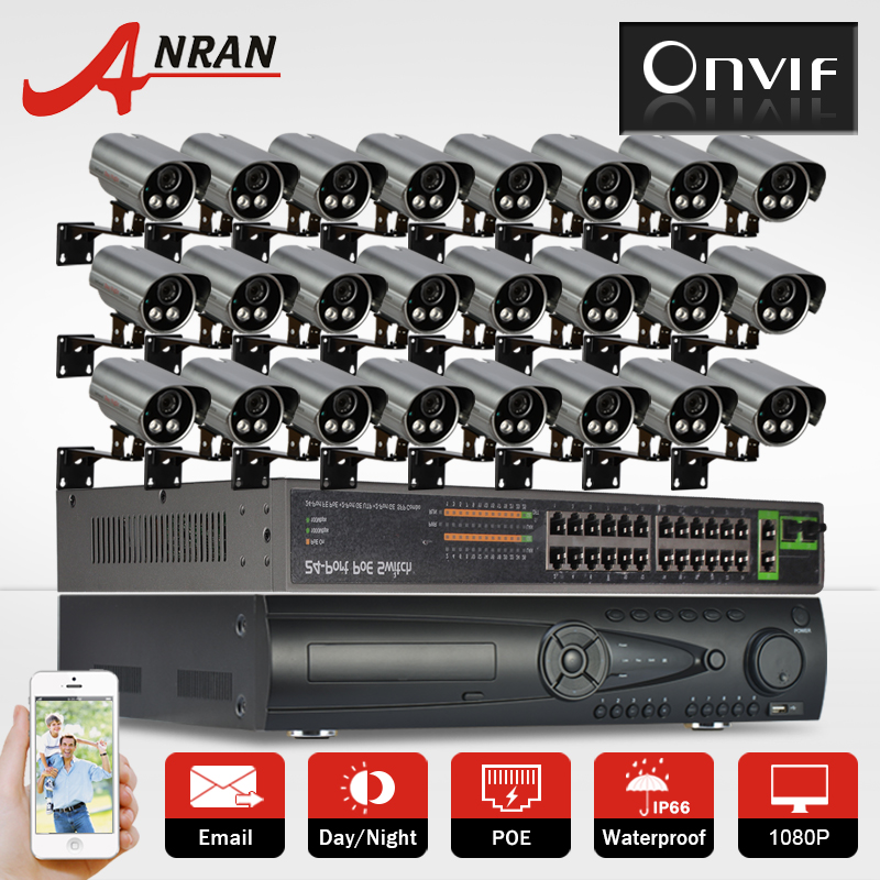 9TB HDD 24CH 1080P Network IP Camera security System Onvif POE HD Night Vision Outdoor P2P Video Surveillance CCTV Camera Kit