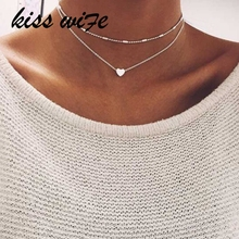 KISS WIFE Fashion Summer Fashion jewelry Peach heart multilayer font b necklace b font Tassel Pendant