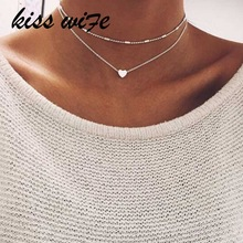 KISS WIFE Fashion Summer Fashion jewelry Peach heart multilayer necklace Tassel Pendant necklace