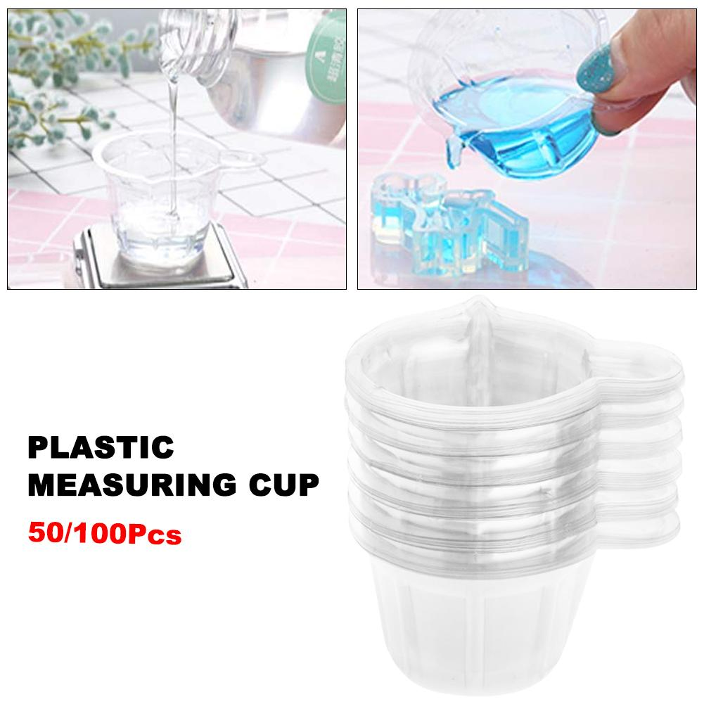 50/100pcs Disposable Plastic Measuring Cups For Dispensing Glue 40ML Plastic Measuring Cups