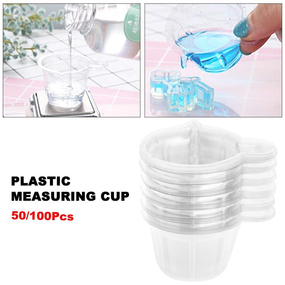 50/100pcs Disposable Plastic Measuring Cups For Dispensing Glue 40ML Plastic Measuring Cups
