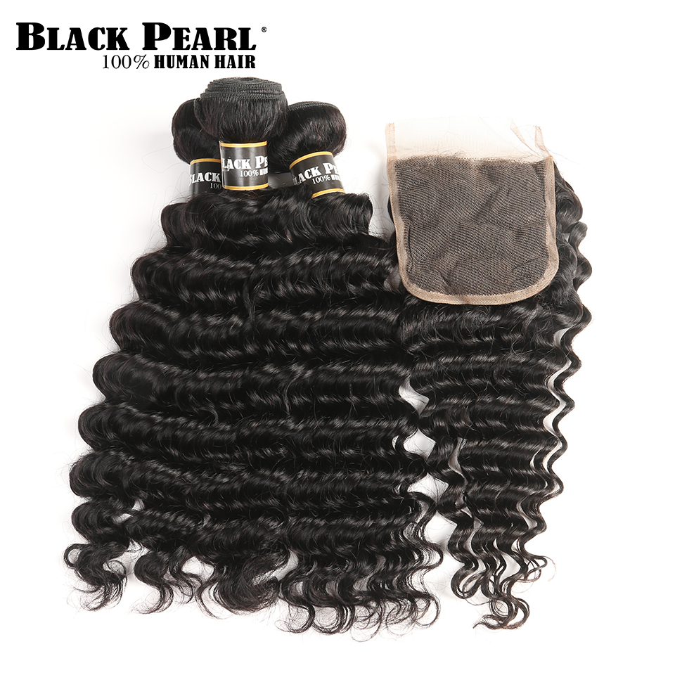 BlackPearl Pre-Colored Non Remy Hair Brazilian Deep Wave Human Hair 3 bundles with Closure Hair Weave With 4x4 Lace Closure