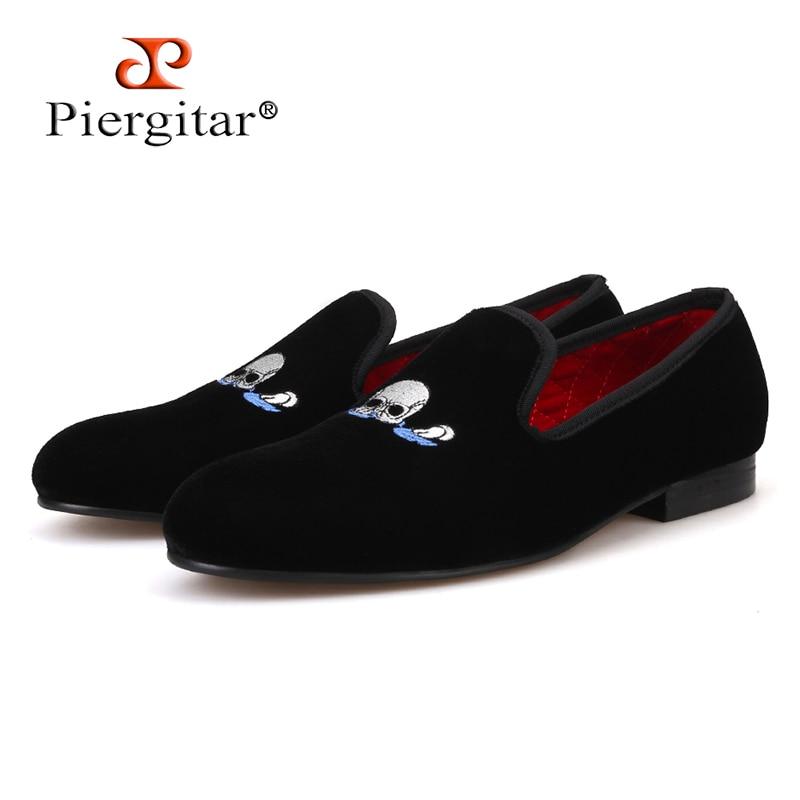 Piergitar Handmade Black Men Velvet Shoes Skull embroidery Loafers Smoking Slippers Men's Flats Size US 4-17 Free shipping цена