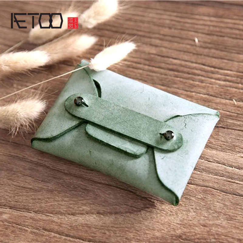 Aetoo Handmade Vintage Lapisan Pertama Kulit Kartu Tas Koin Mini Dompet Pria dan Wanita Kondom Tas Penyimpanan Sederhana Kulit Koin tas