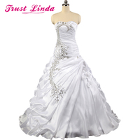 Gorgeous A line Ruffles Prom Gown Sweetheart Strapless Crystal Wedding Party Dresses Vestidos De Novia