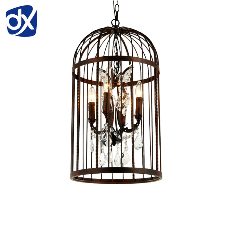 Vintage Iron Birdcage Design Pendant Lights Retro Crystal Lamp American Country Style For Restaurant Hall Store Cafe