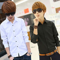 Moda de luxo mens casual slim fit elegante camisa de manga longa turn down collar slim fit camisa masculina adolescente clothing menino