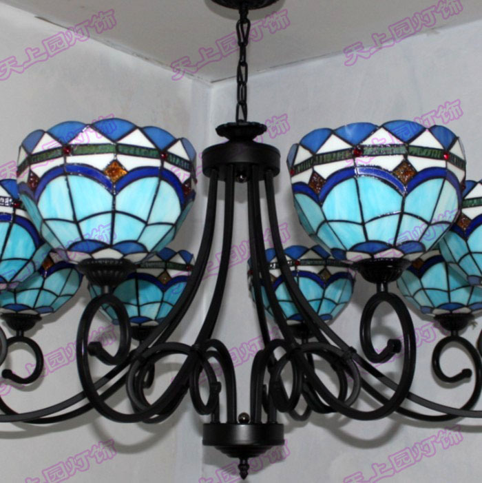 Red Diamond Sale Tiffany Lamps Continental Light Restaurant Lights Living Room Blue Mediterranean Iron Chandeliers