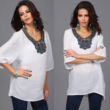 New Women Floral Embroidery Plus Size Loose Blouse