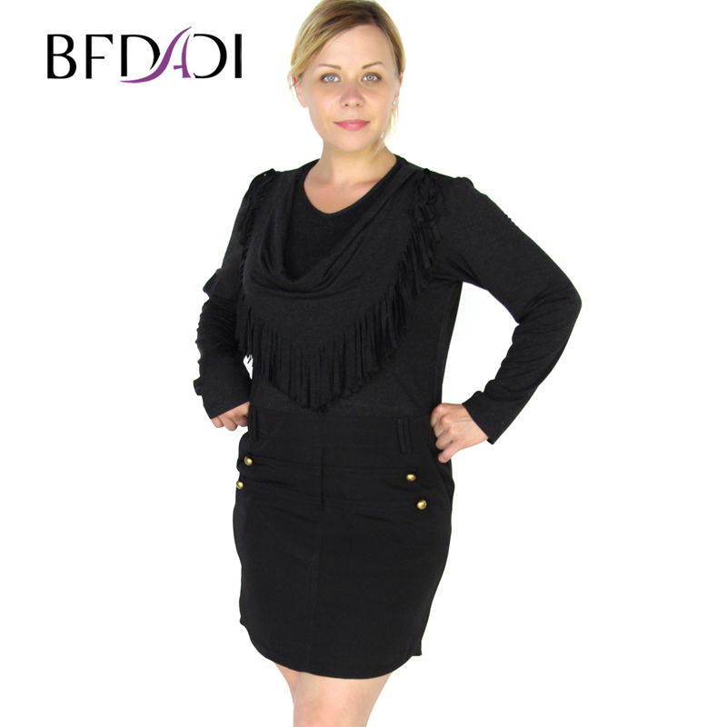 BFDADI 2016 New Office Work Vestidos Women winter Sexy Casual Dress fashion Fringed scarves collar Black Dresses Plue size 3313 ...