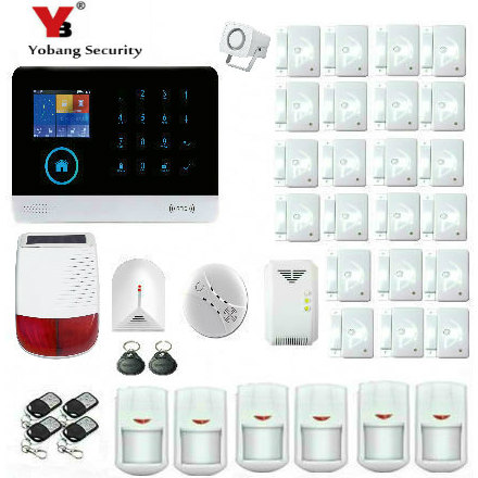 YobangSecurity Wireless WiFi GSM RFID Home Burglar Fire Alarm Security System With Solar Power Siren Gas Smoke Fire Detector 433mhz g90b security home system wireless gsm alarm system gas detector wireless stobe siren smoke detector for smart home