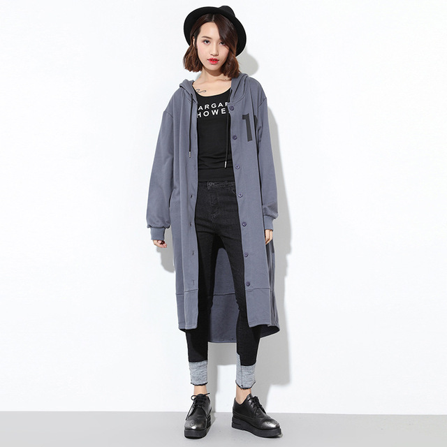 [XITAO] spring 2017 Korea edition women printed long cardigan trench coat casual female long sleeve loose hooded trench ZY010