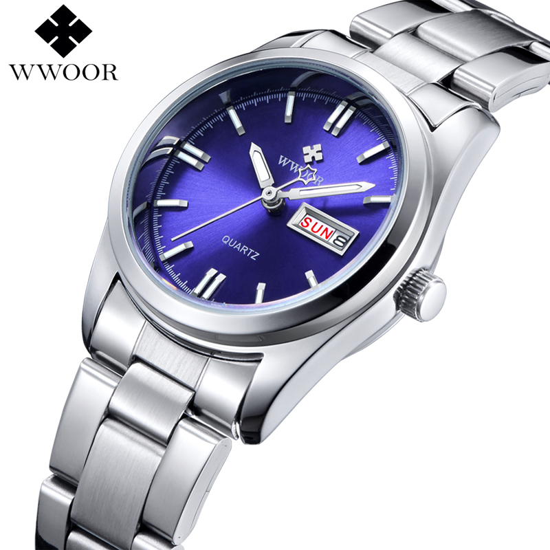 Top brand date day silver stainless steel quartz watch women watches ladies analog clock girls for Watches brands for girl