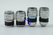 4X, 10X, 40X, 100X 4PCS Biological Microscope L=185 Achromatic Objective Lens with thread mouning size 20.14mm