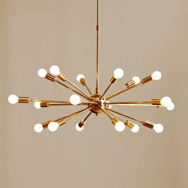 Mid Century Brass Sputnik Chandelier 18 Arms Modern Pendant Lamp Hanging Light For Living Room Home