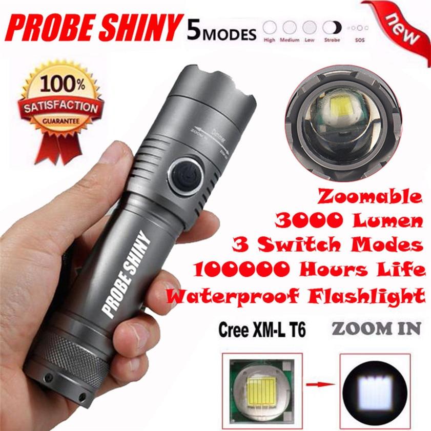 Super X800 3000Lm CREE XML T6 LED Zoomable 18650 AAA Flashlight Torch Light Lamp 170127 фонарик 5 3000lm 3 x xml t6 1 x 18650
