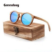 100% pure Du wood round sunglasses polarized  women bamboo UV400 Retro oculos de sol feminino