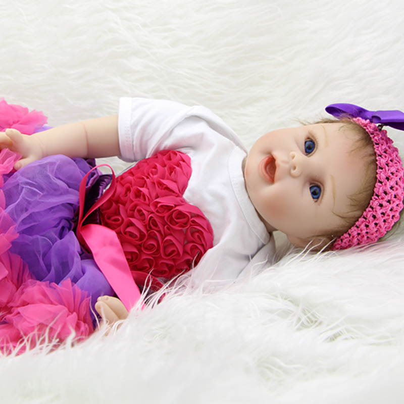 NPK Collection 22 Inch Reborn Baby Girl Realistic Silicone Newborn Babies Wearing Beautiful Dress Children Birthday Xmas Gift