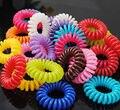 Colorido linha RubberTelephone forma Elástica Laços de Cabelo Corda Banda Rabo de Cavalo Titular para a Menina Crianças