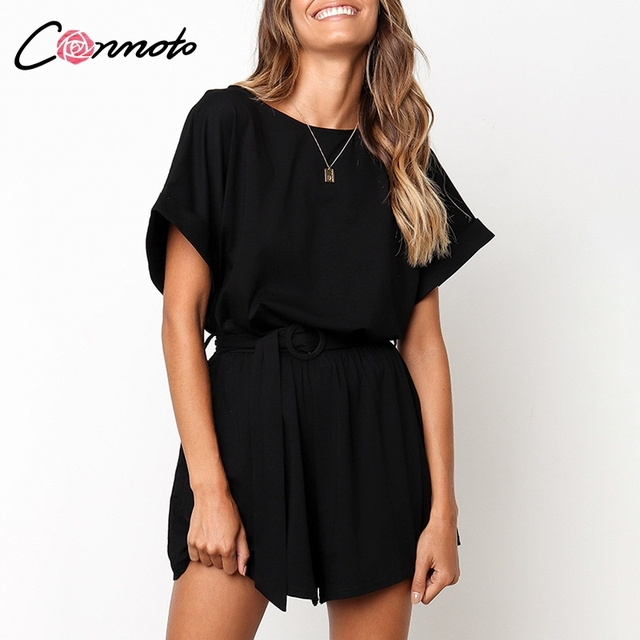 Conmoto Solid Casual 2019 Summer Women Playsuits Romper Beach Belt Tie Loose Female High Fashion Cotton Playsuit 4