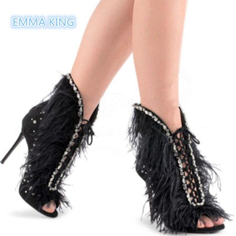 Mujer Botas Romana Mujeres Diseñador Otoño Picture Tacón Primavera Sexy As Zapatos Vuelta La Las Pluma Alto as Tobillo Toe peep Picture Encaje Botines De d1Hqqc4Y