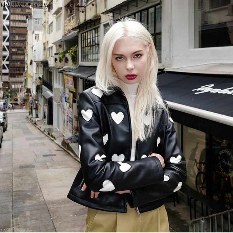 Motard Noir De En Doux Whitney Cuir Streetwear Mode Coeur Veste Outwear Wang Automne Broderie Pu 2018 Synthétique Pour Femmes wRURanTC