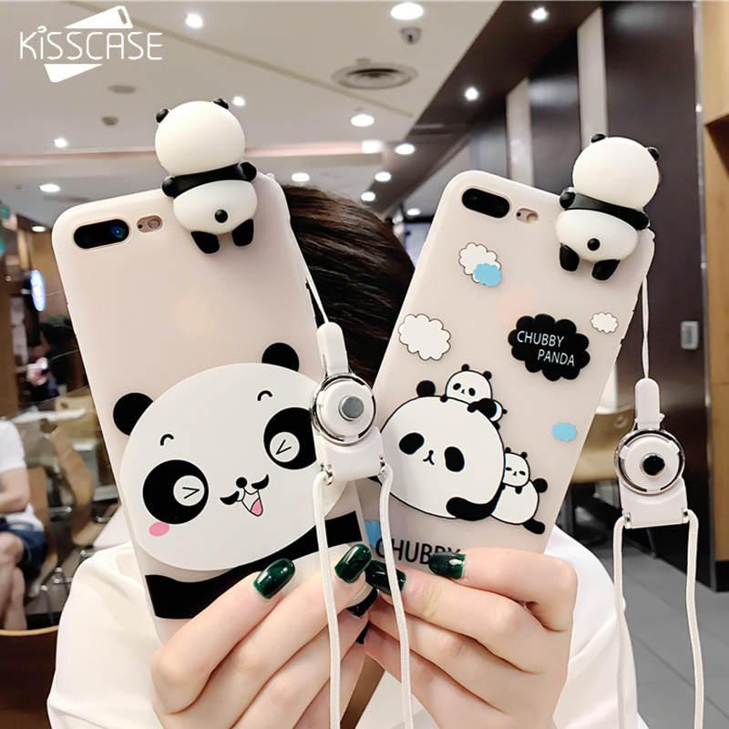 KISSCASE 3D Cute Panda Case For iPhone X XS MAX XR iPhone 7 8 Plus Case Toy Panda Cover Silicon For iPhone X 7 6 6s plus Cases iPhone