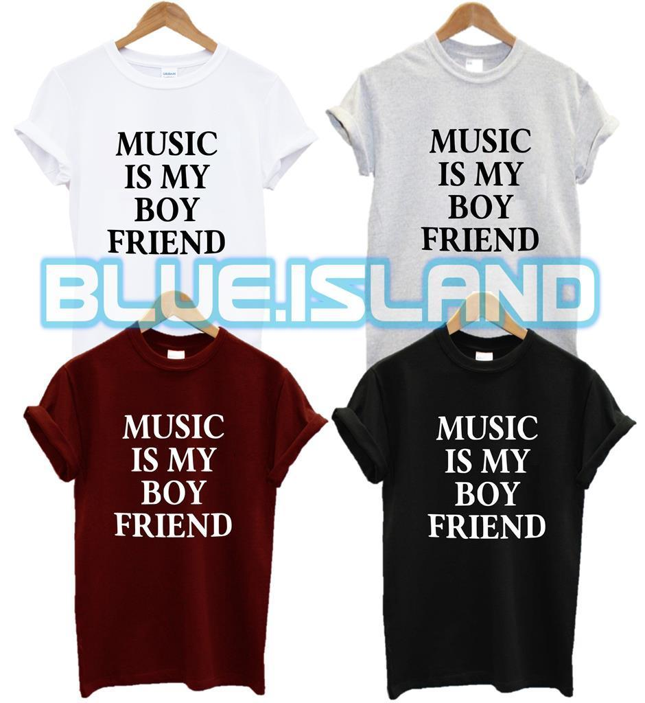 MUSIC IS MY BOYFRIEND T SHIRT FASHION TUMBLR HIPSTER SWAG DOPE QUOTE PRESENT NEW image