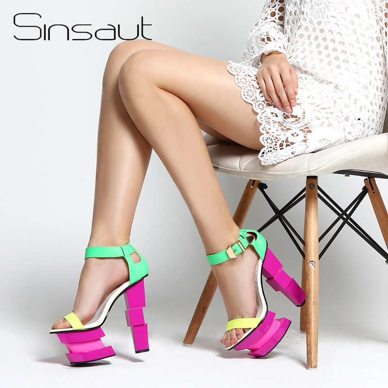 Sinsaut women summer shoes strange high heel ankle strap shoes women wedge shoes sexy party platform
