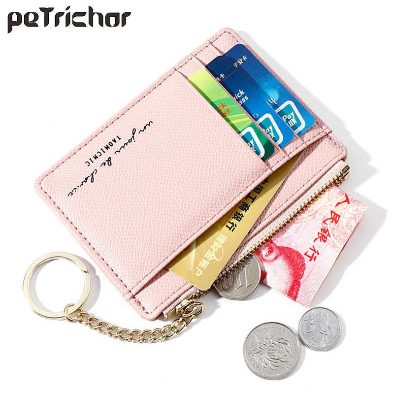 Hot Brand Soft Leather Mini Women Card Holder Cute Credit ID Card Holders Zipper Slim Wallet Case Change Coin Purse Keychain