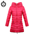 2016 COUTUDI Solid Red Winter Down Jackets Womens Plus Size 2XL Zippers Long Jacket Coats With Hooded High Quality Female Coats