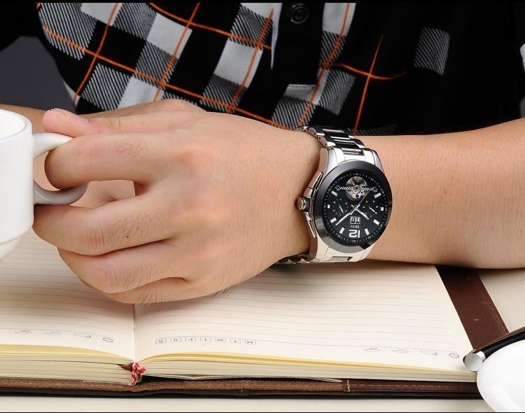 ANGELA BOS Moda Marca de Lujo Reloj Esqueleto Hombres Mecánico - Relojes para hombres - foto 5
