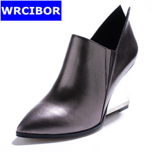 2017 Women Pumps Silver Genuine leather Pointed toe High heels Casual shoes Lady Fashion wedges high-heeled shoes Single shoes