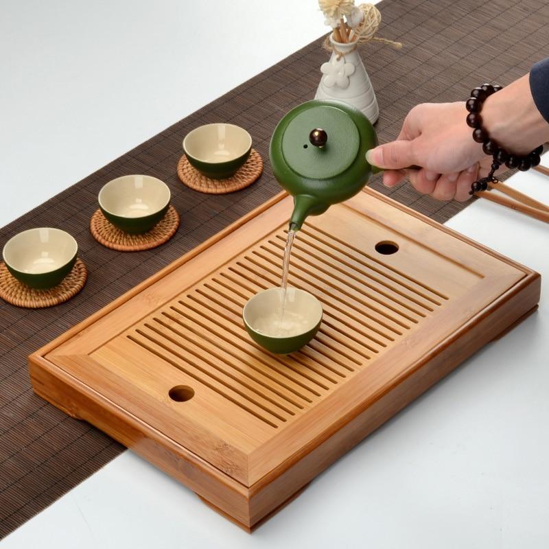 Kung Fu Tea Set Natural Bamboo Tea Tray Rectangular