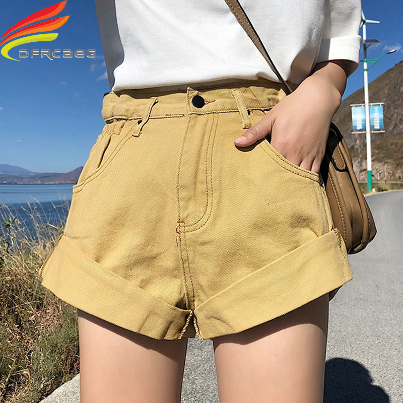Denim Shorts Women 2019 Summer Latest Style Street Wear High Waist Crimping Candy Color Shorts Jeans Summer Short Pants Women
