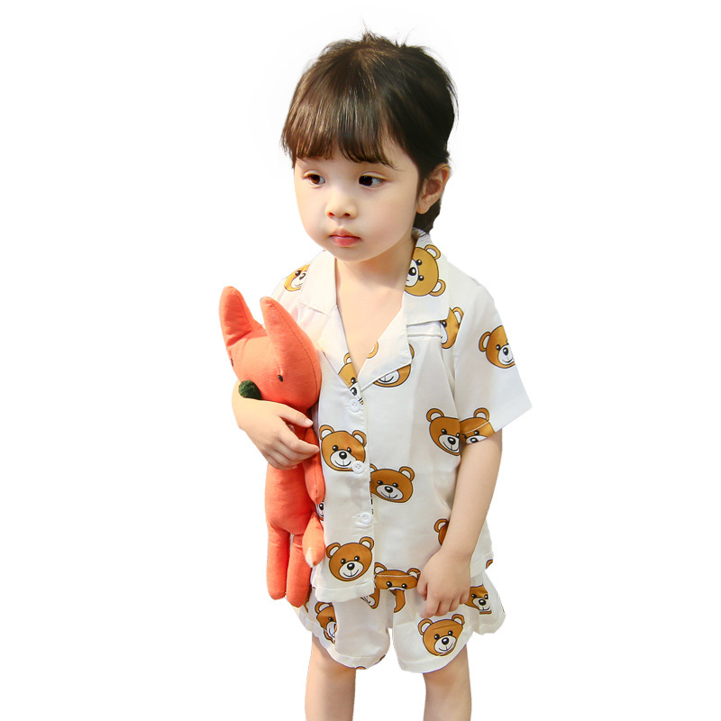 Kids Set Baby Boys Girls Summer Clothes Cartoon Bear Tshirt+shorts Suit Pajamas Children Clothing Toddler Top Costume Tracksuit
