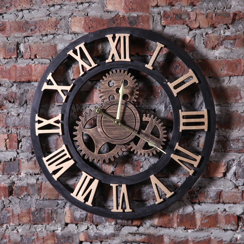 Us 60 29 33 Off Hot Living Room Creative Wall Clock Hanging Watch Gear Retro Home Furnishing Decorations Bar Office Pendant Decor Crafts In