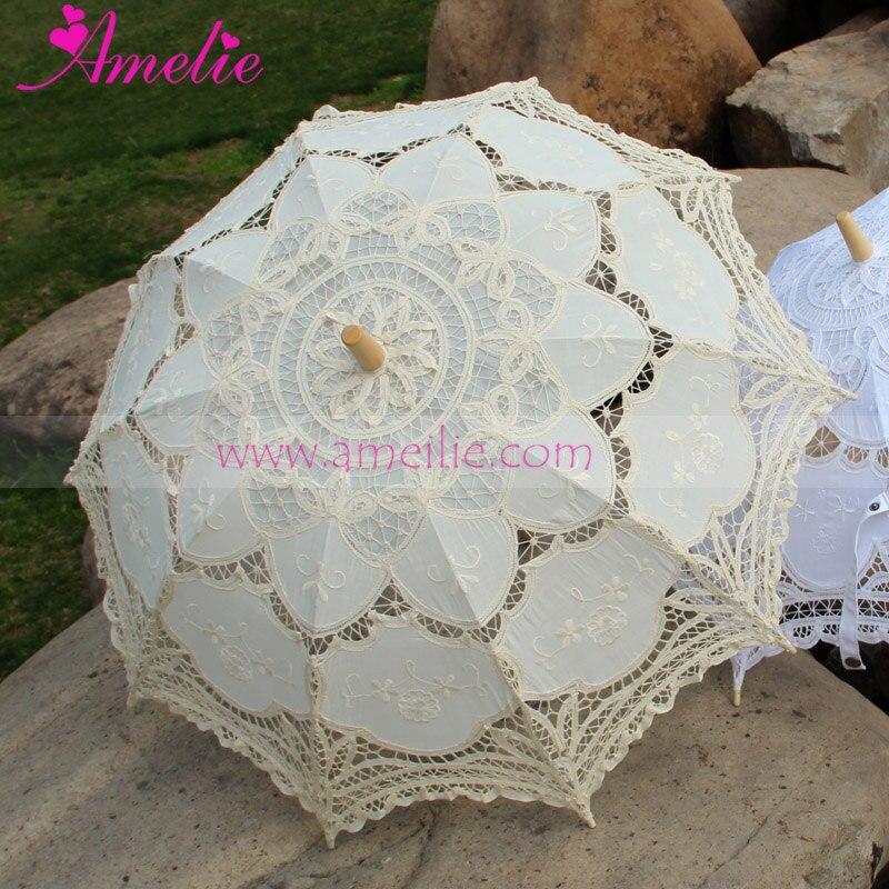 Free Shipping Vintage Style Battenburg Lace Parasol Wedding Umbrella 15pcs lot