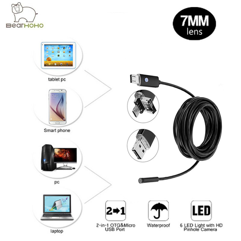 Video Endoscope Android PC 2IN1 HD 720P 7mm Lens 2.0MP Snake Tube Inspection Camera Car Endoscope USB Flexible Camera Waterproof