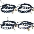 2 шт. пара браслетов, Стильные черные браслеты King And Queen с замком для ключей, цепочки для влюбленных, подарки ручной работы, очаровательные бра...