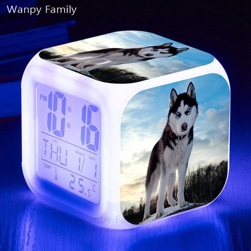 Very Cute Husky Dog Alarm Clocks Led 7