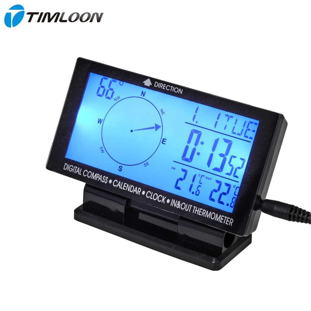 "4.6"" LCD Display Screen Car Digital Compass,Calendar,Clock,In & Out Thermometer With Blue Backlight"