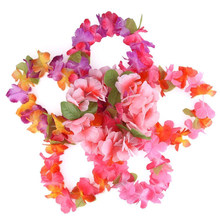 6Pcs Hawaii Strand DIY Blume Girlande Künstliche Kranz Leis Halskette Stirnband Armband Set Phantasie Kleid Party Decor(China)