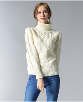 Sweater Women Jumper Women's Free Shipping 2019 Autumn And Winter European American Style Large Size Knitted High neck Sweater