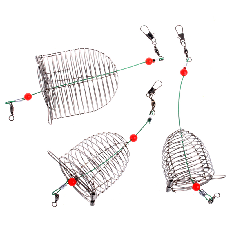 Stainless Steel Wire Fishing Trap Bait Cage Basket Feeder Holder Tackle Tool